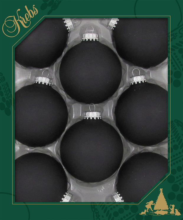 "2 5/8"" (67mm) Ball Ornaments, Silver Caps, Ebony, 8/Box, 12/Case, 96 Pieces - Christmas by Krebs Wholesale"