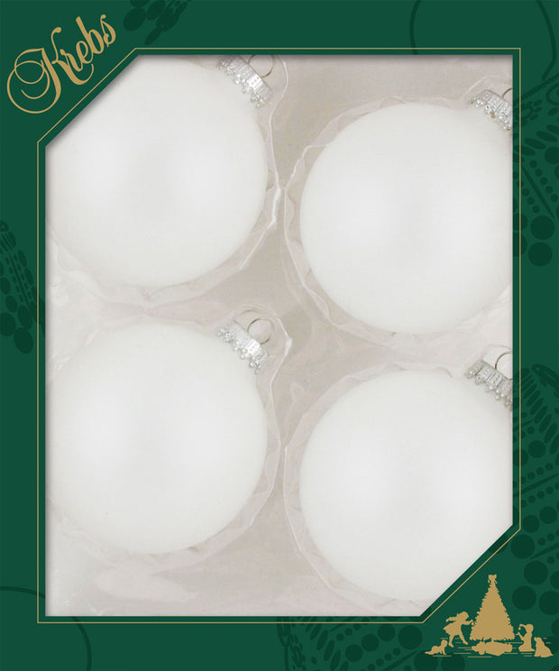 "3 1/4"" (80mm) Ball Ornaments, Silver Caps, Snow White, 4/Box, 12/Case, 48 Pieces"