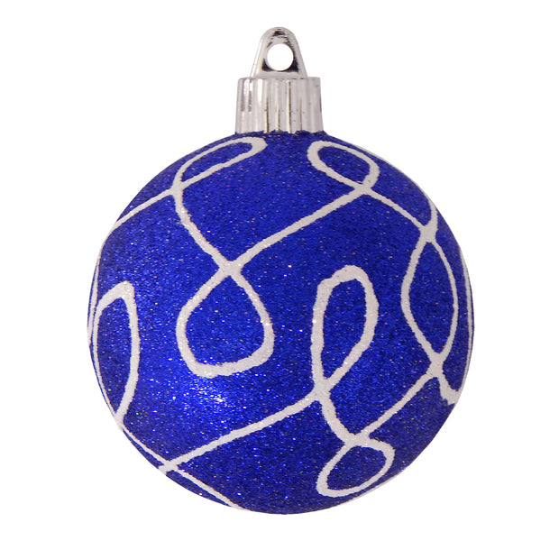 "3 1/4"" (80mm) Commercial Shatterproof Ball Ornament, Dark Blue Glitter, Case, 36 Pieces - Christmas by Krebs Wholesale"