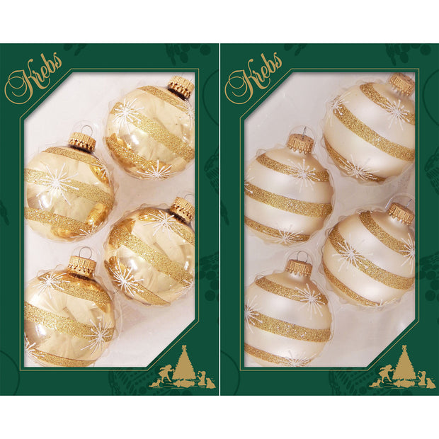 "2 5/8"" (67mm) Ball Ornaments, Starbursts and Stripes, Molten Gold/Oyster, 4/Box, 12/Case, 48 Pieces"