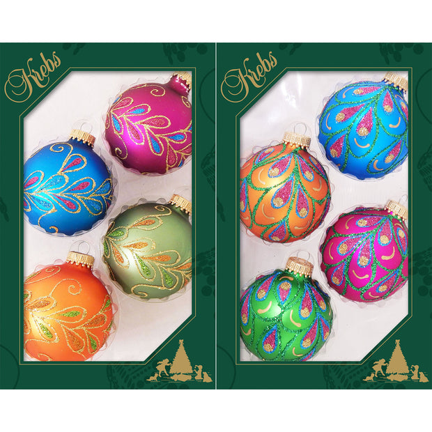 "2 5/8"" (67mm) Ball Ornaments, Glitter Peacock Drapes, Asst Brights, 4/Box, 12/Case, 48 Pieces"