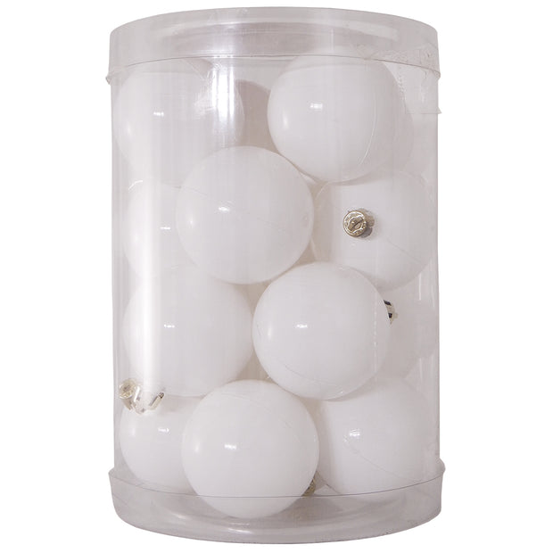 "3 1/3"" (60mm) Shatterproof Christmas Ball Ornaments, Pure White, Case, 16 Count x 12 Tubs, 192 Pieces"
