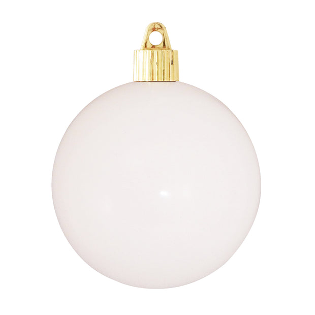 "3 1/4"" (80mm) Commercial Shatterproof Ball Ornament, Pure White, Case, 80 Pieces"