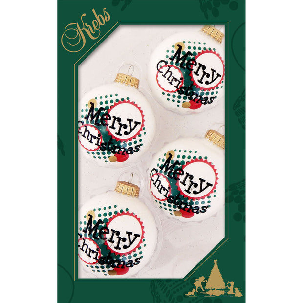 "2 5/8"" (67mm) Ball Ornaments, Jolly Dots Merry Christmas, Porcelain White, 4/Box, 12/Case, 48 Pieces - Christmas by Krebs Wholesale"