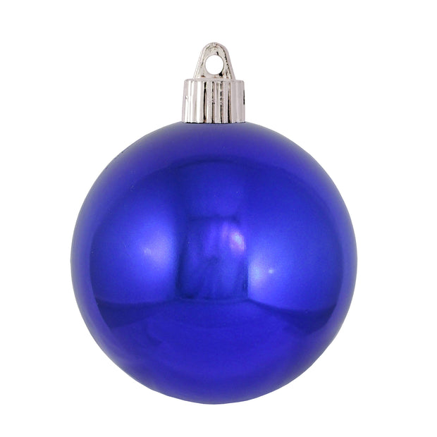 "3 1/4"" (80mm) Commercial Shatterproof Ball Ornament, Shiny Azure Blue, 8 Pieces per Bag. 10 Bags per Case, 80 Pieces per case. - Christmas by Krebs Wholesale"