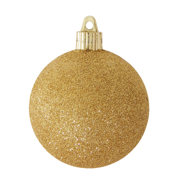 "3 1/4"" (80mm) Commercial Shatterproof Ball Ornament, Gold Glitter, Case, 8 Pieces per Bag, 10 Bags per Case, 80 Pieces per case. - Christmas by Krebs Wholesale"