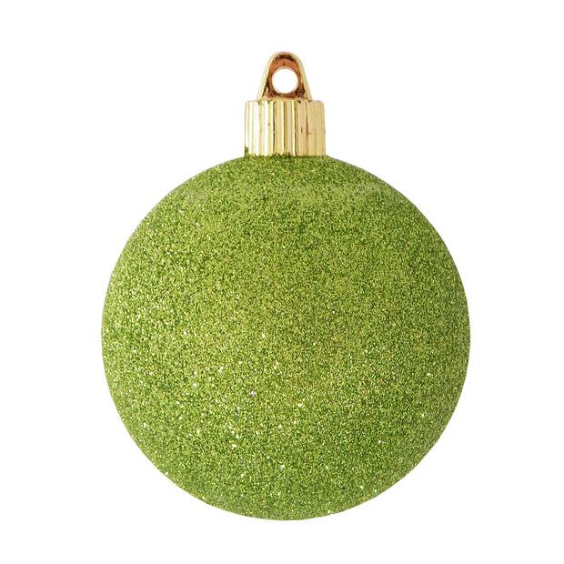"3 1/4"" (80mm) Commercial Shatterproof Ball Ornament, Lime Green Glitter, 8 Pieces per Bag. 10 Bags per Case, 80 Pieces per case. - Christmas by Krebs Wholesale"