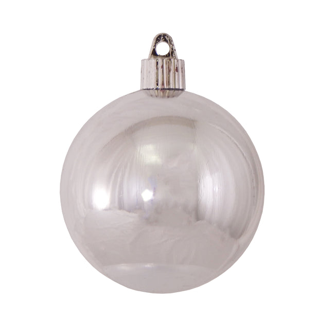 "3 1/4"" (80mm) Commercial Shatterproof Ball Ornament, Looking Glass Silver, 8 Pieces per Bag. 10 Bags per Case, 80 Pieces per case. - Christmas by Krebs Wholesale"