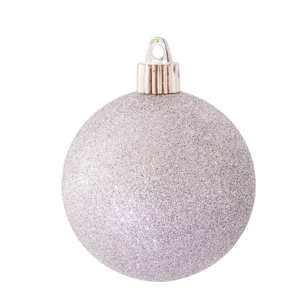 "3 1/4"" (80mm) Commercial Shatterproof Ball Ornament, Silver Glitter, 8 Pieces per Bag. 10 Bags per Case, 80 Pieces per case. - Christmas by Krebs Wholesale"