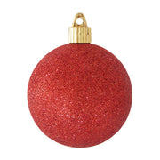 "3 1/4"" (80mm) Commercial Shatterproof Ball Ornament, Red Glitter, 8 Pieces per Bag. 10 Bags per Case, 80 Pieces per case."