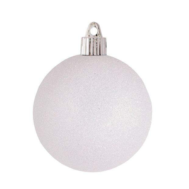 "3 1/4"" (80mm) Commercial Shatterproof Ball Ornament, Snowball Glitter, 8 Pieces per Bag. 10 Bags per Case, 80 Pieces per case. - Christmas by Krebs Wholesale"