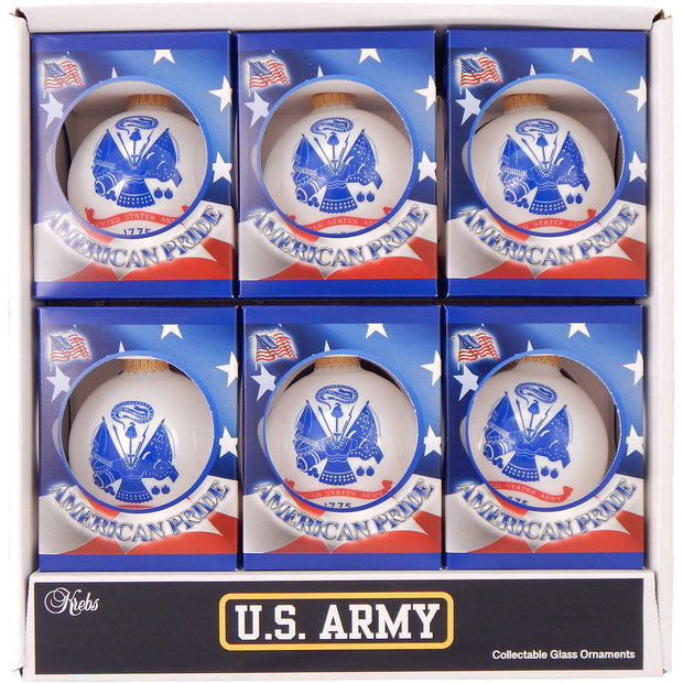 "3 1/4"" (80mm) Ball Ornaments US Army Flag and Slogan, Porcelain White, 1/Box, 12/Case, 12 Pieces"