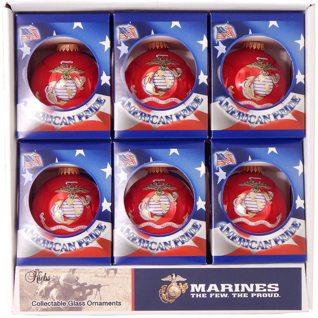 "3 1/4"" (80mm) Ball Ornaments US Marine Corps Flag/Slogan, Candy Apple, 1/Box, 12/Case, 12 Pieces"