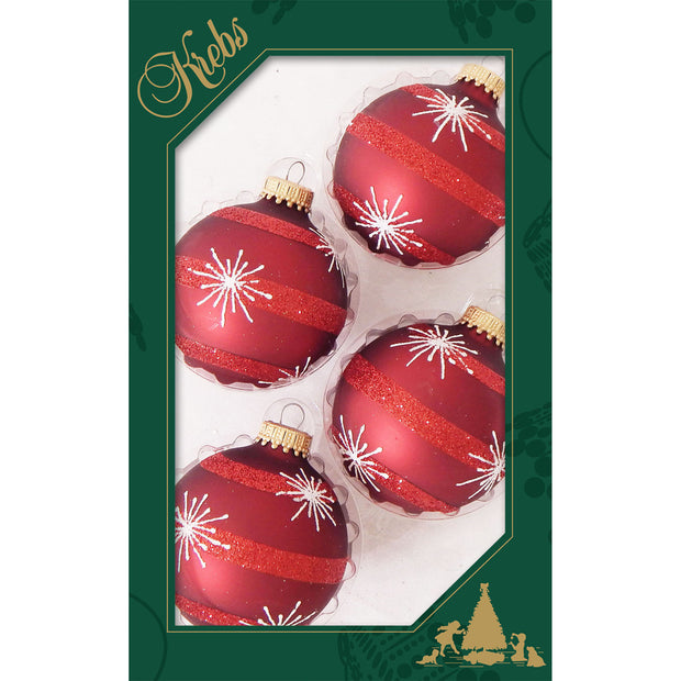 "2 5/8"" (67mm) Ball Ornaments, Starbursts and Stripes, Red Velvet, 4/Box, 12/Case, 48 Pieces"