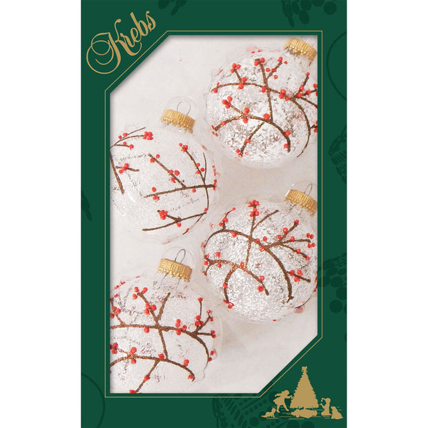 "2 5/8"" (67mm) Ball Ornaments, Branches Berries and Snow, Clear, 4/Box, 12/Case, 48 Pieces"