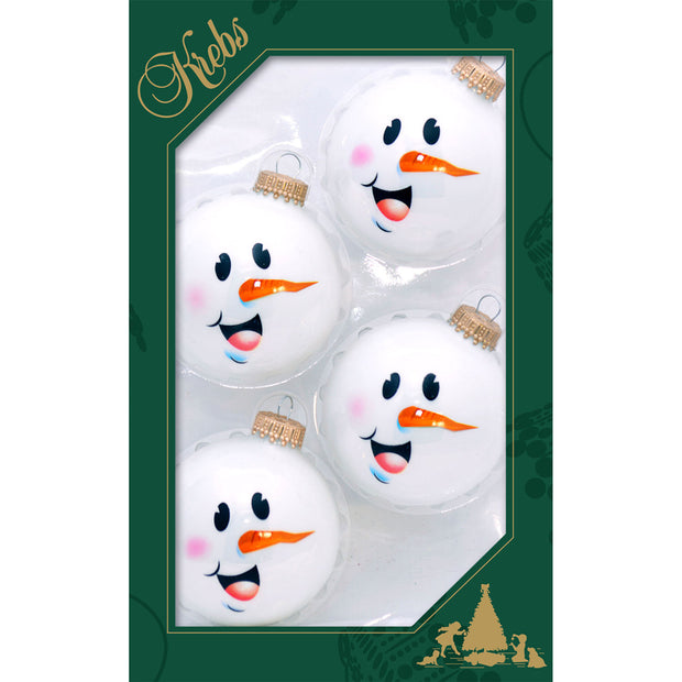 "2 5/8"" (67mm) Ball Ornaments, Snowman Face, Porcelain White, 4/Box, 12/Case, 48 Pieces - Christmas by Krebs Wholesale"