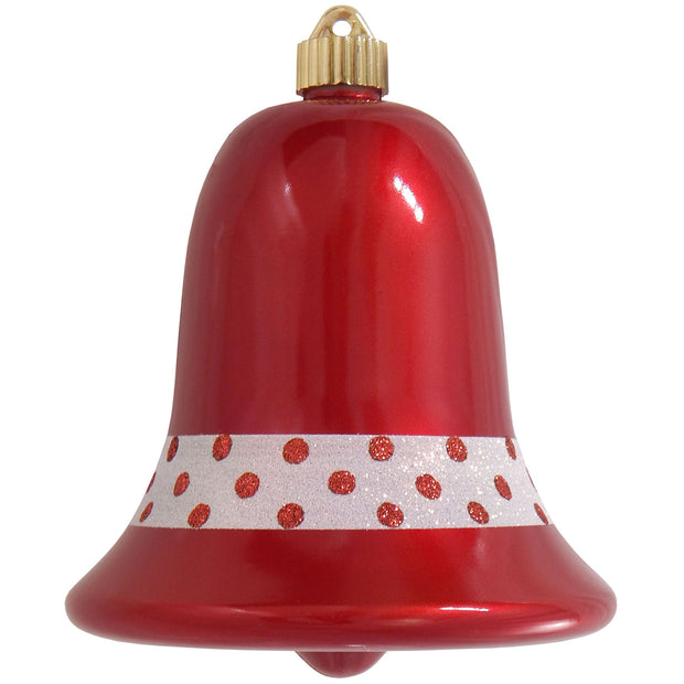 "7"" (178mm) Commercial Shatterproof Bell Ornaments, Candy Red, 1/Box, 12/Case, 12 Pieces"