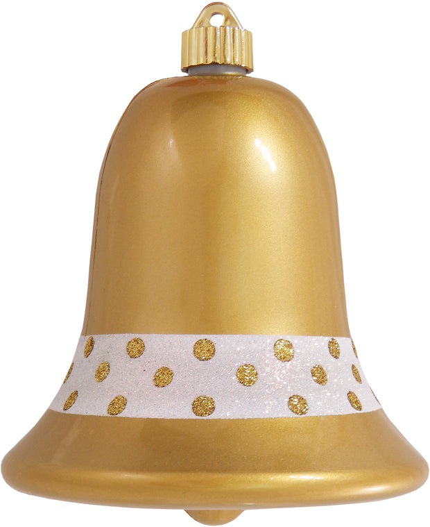 "7"" (178mm) Commercial Shatterproof Bell Ornaments, Candy Gold, 1/Box, 12/Case, 12 Pieces"