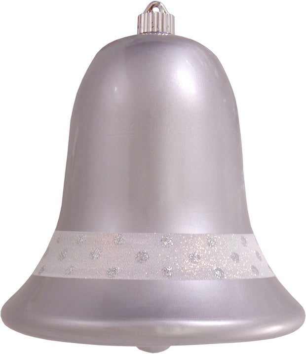 "9"" (229mm) Commercial Shatterproof Bell Ornaments, Candy Silver, 1/Box, 6/Case, 6 Pieces"