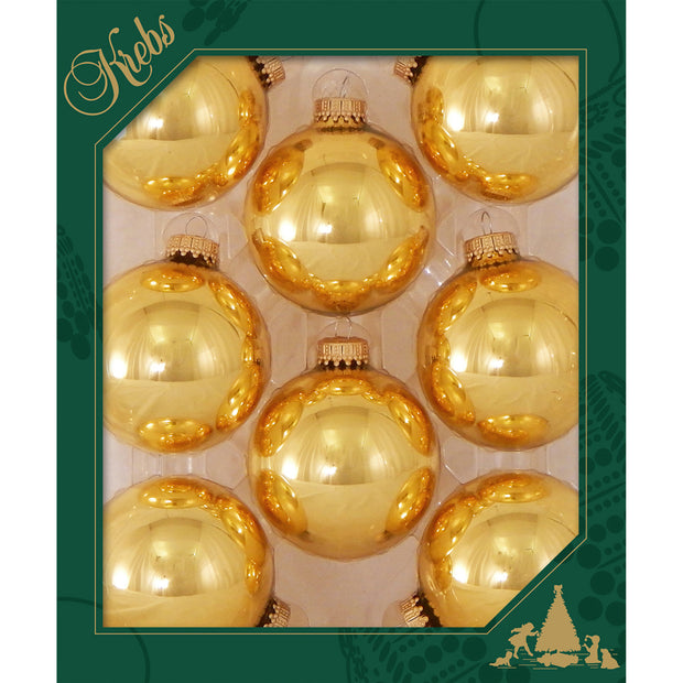 "2 5/8"" (67mm) Ball Ornaments, Gold Caps, Golden Topaz, 8/Box, 12/Case, 96 Pieces"