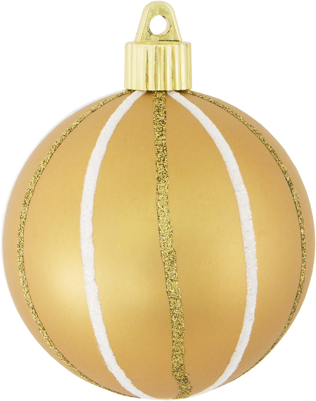 "3 1/4"" (80mm) Commercial Shatterproof Ball Ornament, Gold Dust, Case, 36 Pieces"