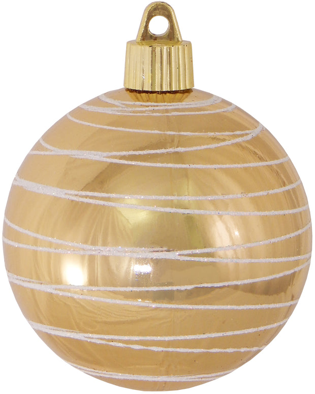 "3 1/4"" (80mm) Commercial Shatterproof Ball Ornament, Gilded Gold with White Tangles, Case, 36 Pieces"