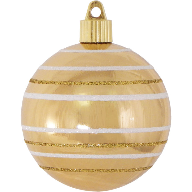 "3 1/4"" (80mm) Commercial Shatterproof Ball Ornament, Gilded Gold with Stripes, Case, 36 Pieces"