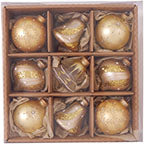 "3 1/4"" (80mm) Ball Ornaments Highly Decorated Ornament, Gold, 9/Box, 6/Case, 54 Pieces - Christmas by Krebs Wholesale"