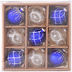 "3 1/4"" (80mm) Highly Decorated Set, Blue/Silver, 9/Box, 6/Case, 54 Pieces - Christmas by Krebs Wholesale"