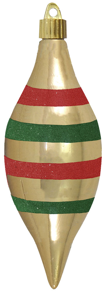 "7"" (178mm) Large Commercial Shatterproof Finials, Gilded Gold , Case, 24 Pieces - Christmas by Krebs Wholesale"