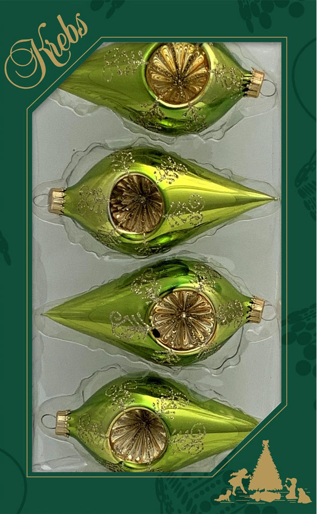 "4"" (100mm) Glass Reflector Drop Shape Finials, Green Glaze, 4/Box, 12/Case, 48 Pieces - Christmas by Krebs Wholesale"