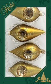 "4"" (100mm) Glass Reflector Drop Shape Finials, Green Gold, 4/Box, 12/Case, 48 Pieces - Christmas by Krebs Wholesale"