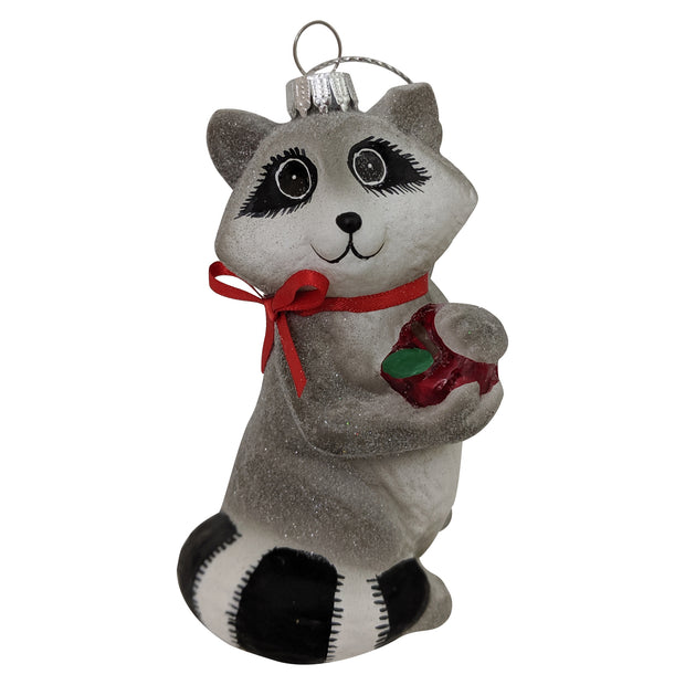 "4"" (100mm) Racoon with Apple Glass Figurine Ornaments, 1/Box, 6/Case, 6 Pieces"