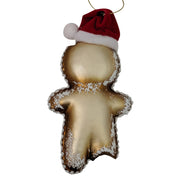 "6 1/2"" (165mm) Gingerbread Man with Santa Hat Glass Figurine Ornaments, 1/Box, 6/Case, 6 Pieces"