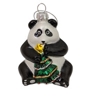 "3 1/4"" (80mm) Panda holding Christmas Tree Glass Figurine Ornaments, 1/Box, 6/Case, 6 Pieces"