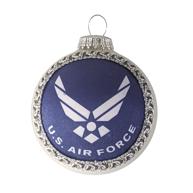 "3 1/4"" (80mm) Glass Ball Ornaments, Silver Pearl - Silk Air Force Logo and Hymn, 1/Box, 12/Case, 12 Pieces"