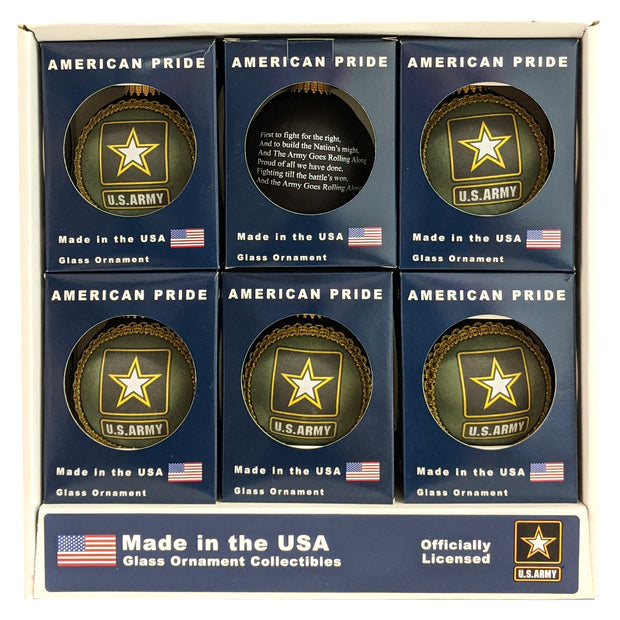"3 1/4"" (80mm) Glass Ball Ornaments, Ebony Velvet - Silk US Army Logo and Hymn, 1/Box, 12/Case, 12 Pieces"