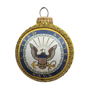 "3 1/4"" (80mm) Glass Ball Ornaments, Gold Velvet - Silk US Navy Logo and Hymn, 1/Box, 12/Case, 12 Pieces"