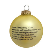 "3 1/4"" (80mm) Glass Ball Ornaments, Gold Velvet - Silk US Navy Logo and Hymn, 1/Box, 12/Case, 12 Pieces - Christmas by Krebs Wholesale"
