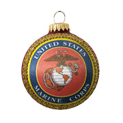 "3 1/4"" (80mm) Glass Ball Ornaments, Flame Red - Silk US Marines Logo and Hymn, 1/Box, 12/Case, 12 Pieces"