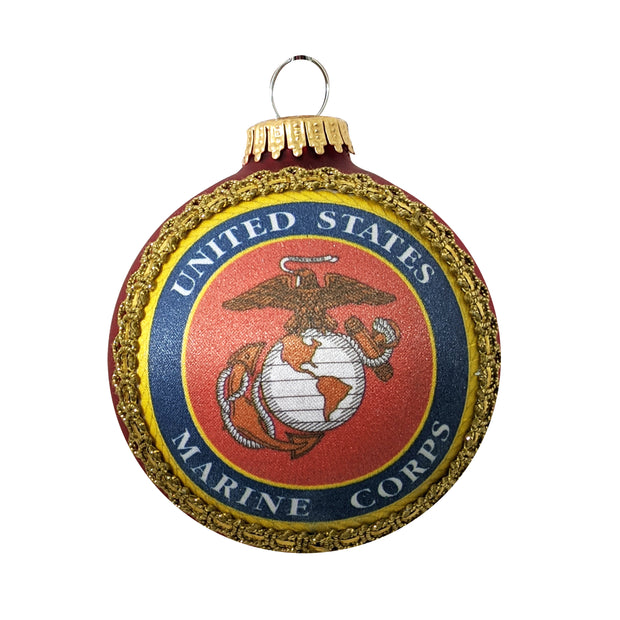 "3 1/4"" (80mm) Glass Ball Ornaments, Flame Red - Silk US Marines Logo and Hymn, 1/Box, 12/Case, 12 Pieces - Christmas by Krebs Wholesale"