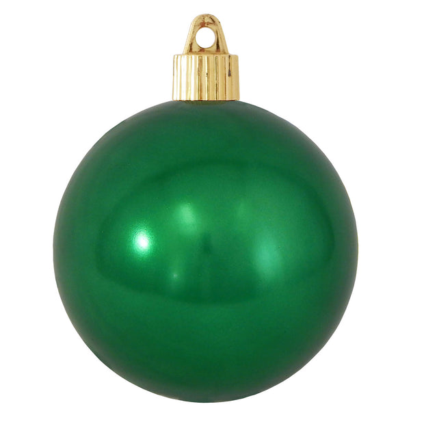 "3 1/4"" (80mm) Shatterproof Christmas Ball Ornaments, Blarney Green, Case, 8 Piece Bags x 10 Bags, 80 Pieces"