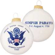 "3 1/4"" (80mm) Ball Ornaments US Coast Guard Flag/Slogan, Porcelain White, 1/Box, 12/Case, 12 Pieces"