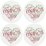 "4"" Round Ceramic Coasters - Happy Mothers Day Hearts and Vines, 4/Box, 2/Case, 8 Pieces"