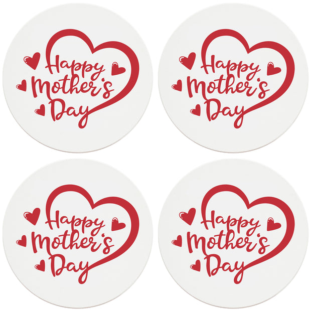 "4"" Round Ceramic Coasters - Happy Mothers Day Heart, 4/Box, 2/Case, 8 Pieces"