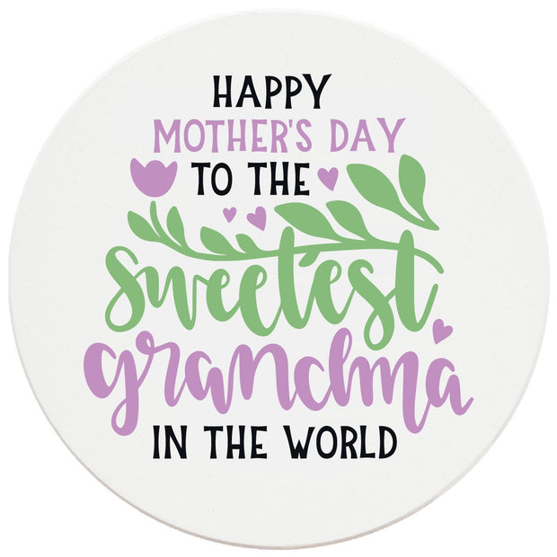 "4"" Round Ceramic Coasters - Happy Mothers Day Sweetest Grandma, 4/Box, 2/Case, 8 Pieces"
