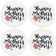 "4"" Round Ceramic Coasters - Happy Mothers Day with Rose, 4/Box, 2/Case, 8 Pieces"