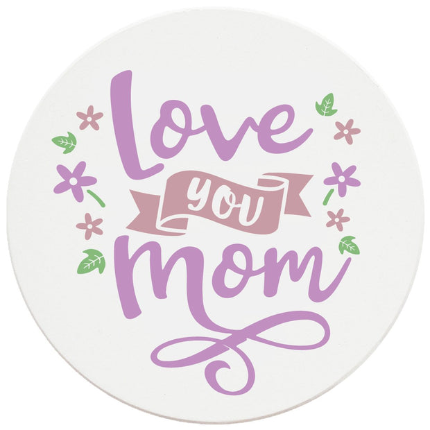 "4"" Round Ceramic Coasters - Love You Mom, 4/Box, 2/Case, 8 Pieces"