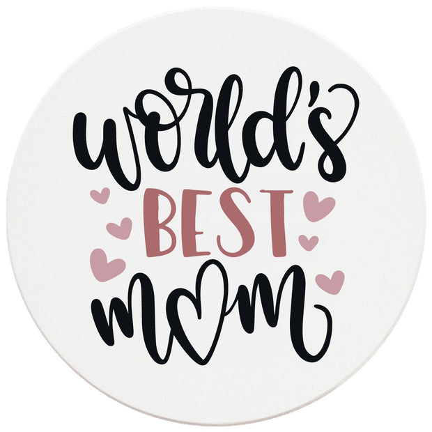 "4"" Round Ceramic Coasters - World's Best Mom, 4/Box, 2/Case, 8 Pieces"