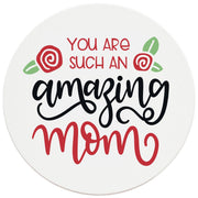 "4"" Round Ceramic Coasters - Amazing Mom, 4/Box, 2/Case, 8 Pieces"